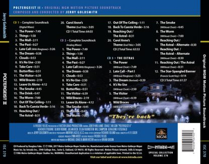 The complete track listing for Poltergeist II: The Other Side (Soundtrack)