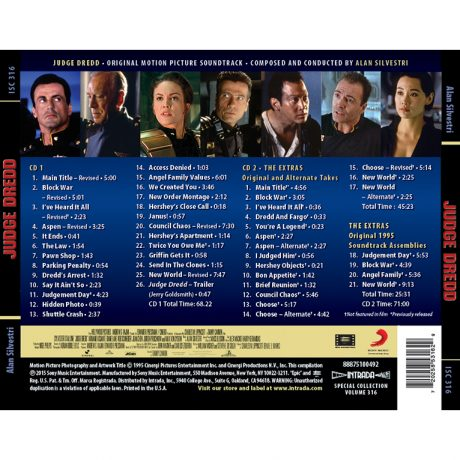 The track listing from both compact discs is listed on the back cover.