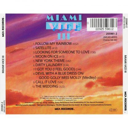 Miami Vice III Soundtrack CD (back)