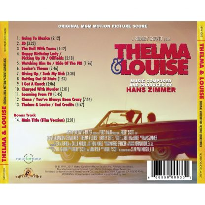Thelma & Louise - Original MGM Motion Picture Soundtrack Score by Hans Zimmer (Limited Edition) [CD] [back cover artwork]
