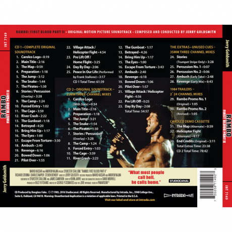Rambo First Blood Part II (Soundtrack) [2CD] (back cover)