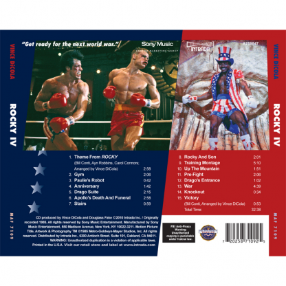 The back sleeve of the Rocky IV score soundtrack release (MAF 7109)