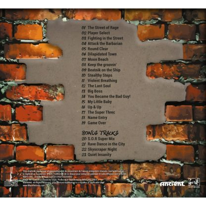 Cover artwork from the Digipak packaging sleeve for Streets of Rage : Perfect Soundtrack (CD) WAYO-009 (back cover)