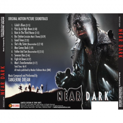track listing rear cover artwork for the Near Dark soundtrack CD album