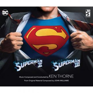 cover artwork for the Superman II and Superman III limited edition soundtracks release (3000 units)