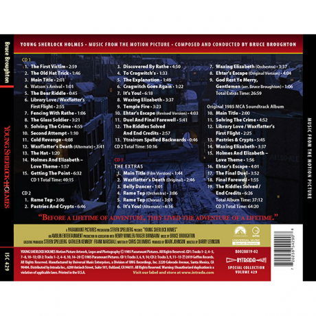 Young Sherlock Holmes (and the Pyramid of Fear) Soundtrack (3xCD) ISC 429 [back cover]