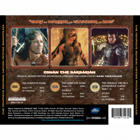 Conan the Barbarian Soundtrack (3x CD) MAF 7123 [back cover]
