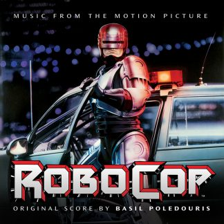 The cover artwork for the Milan Records re-issue of the classic complete RoboCop score