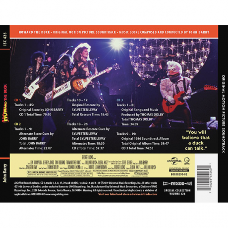 Howard the Duck Soundtrack Album (3xCD) [back cover]