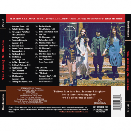 The Amazing Mr Blunden Soundtrack (CD) Elmer Bernstein [ISC 436] (back cover)