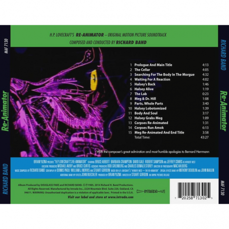 Re-Animator Soundtrack (CD) MAF 7130 [back cover]