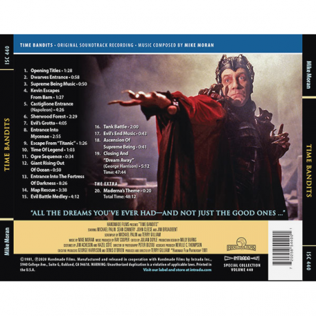 Time Bandits Soundtrack (CD) featuring Dream Away (by George Harrison) [back cover]
