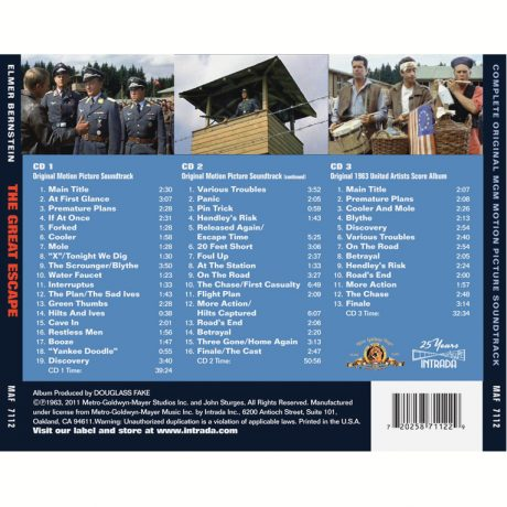 The Great Escape Soundtrack (3xCD Edition) [back cover track listing]