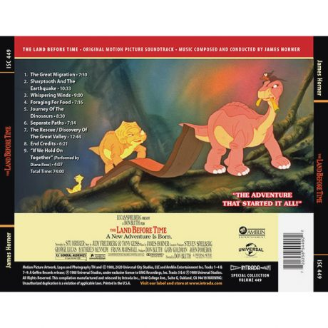 The Land Before Time Soundtrack (CD) [Expanded] ISC 449 [back cover and track listing]