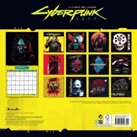 Cyberpunk 2077: Official 16 Month 2021 Calendar (back)