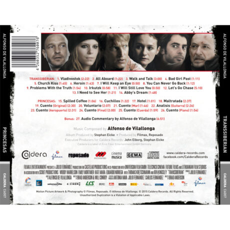 Transsiberian Soundtrack (CD) (also features music from Princesas) [back cover and track listing]