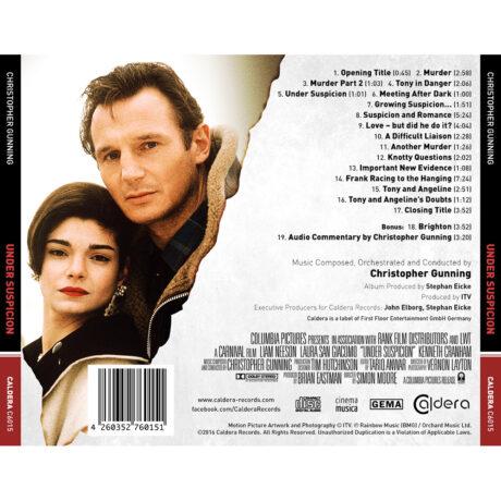 Under Suspicion Soundtrack (CD) [back cover artwork and track listing]